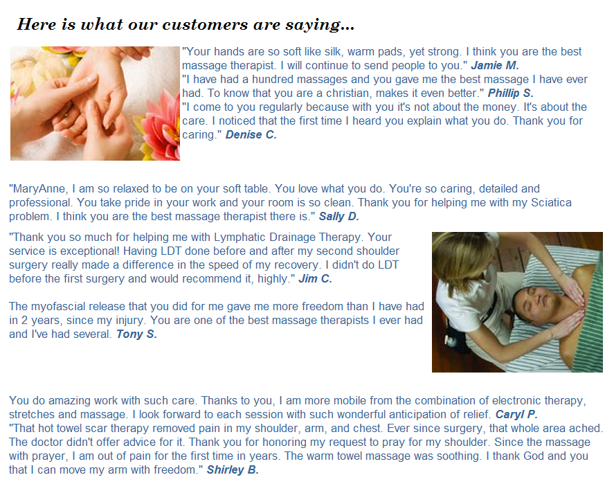 winter park massage therapy testimonials happy customer marryanne calm relief